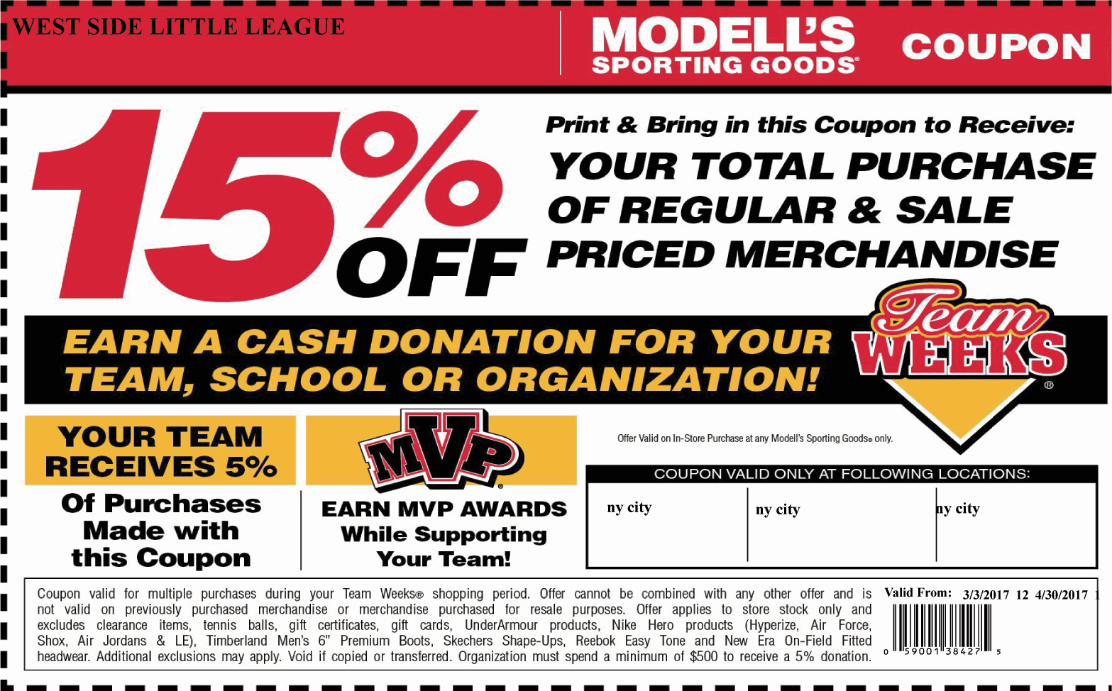 image about Modells Printable Store Coupon titled West Aspect Very little League - Refreshing York Metropolis: House Web site